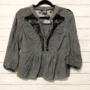 Free People Animal Print Lace Button Top